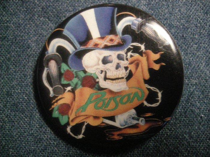 POISON PINBACK BUTTON top hat skull VINTAGE