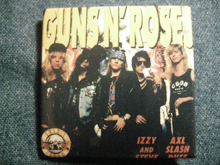 GUNS N ROSES PINBACK BUTTON square band pic gnr VINTAGE