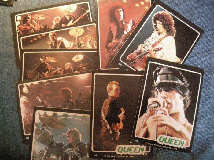 QUEEN TRADING CARDS 1979 Rock Stars freddie mercury LOT OF 9!