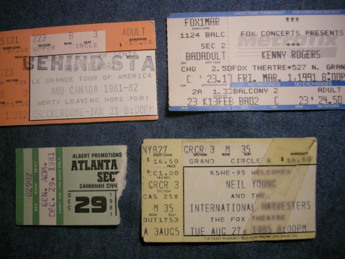 TICKET STUB LOT Neil Young Rod Stewart Kenny Rogers Atlanta Rhythym Section ars vintage SALE
