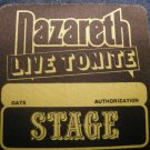 NAZARETH BACKSTAGE PASS Live Tonite yellow stage bsp VINTAGE