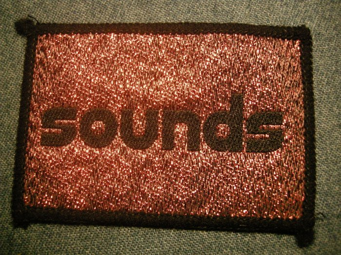 SOUNDS sew-on PATCH glitter magazine logo VINTAGE 80s!