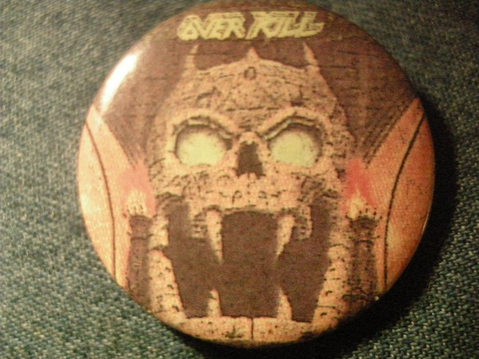 OVERKILL PINBACK BUTTON Years of Decay skull over kill VINTAGE
