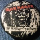 IRON MAIDEN PINBACK BUTTON Number of the Beast eddie head VINTAGE