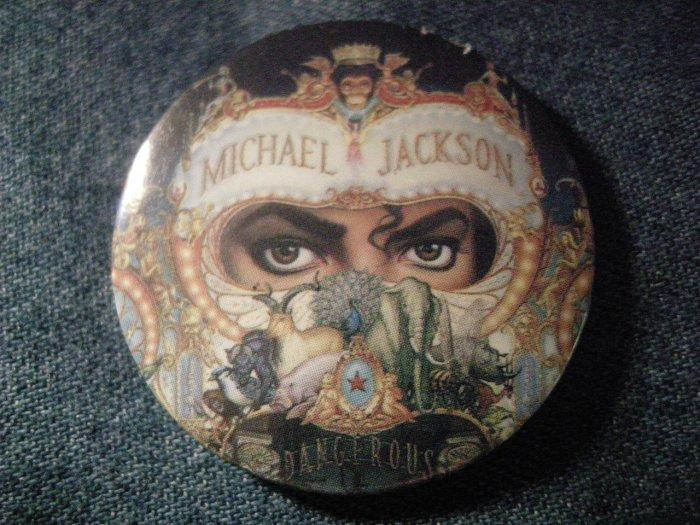 MICHAEL JACKSON PINBACK BUTTON Dangerous album art VINTAGE