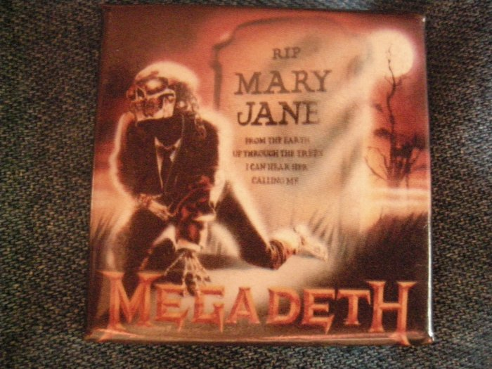 MEGADETH PINBACK BUTTON RIP Mary Jane square VINTAGE