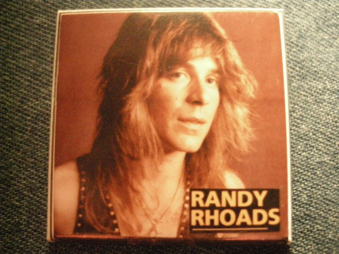 RANDY RHOADS PINBACK BUTTON color pic ozzy osbourne square VINTAGE