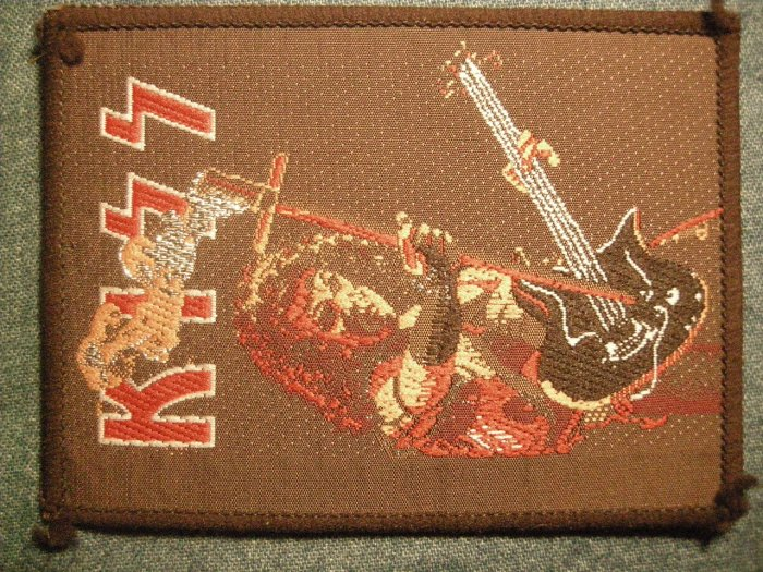 KISS sew-on PATCH gene simmons guitar cross VINTAGE