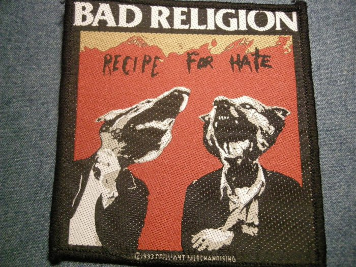 BAD RELIGION sew-on PATCH Recipe for Hate dogs punk IMPORT
