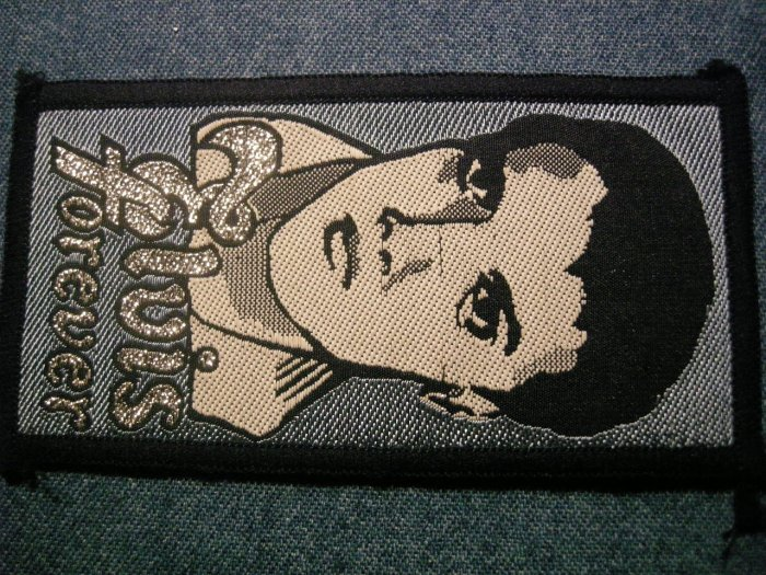 ELVIS PRESLEY sew-on PATCH Forever blue VINTAGE