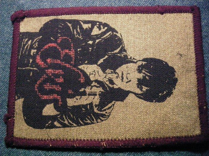 ELVIS PRESLEY sew-on PATCH red/gold logo VINTAGE