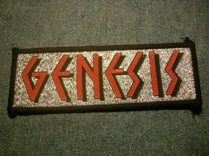 GENESIS sew-on PATCH red glitter logo phil collins VINTAGE