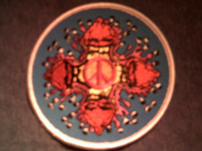 PEACE SIGN iron-on PATCH magic mushroom hippie NEW!
