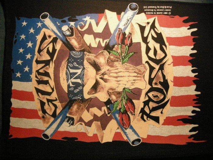 GUNS N ROSES BACKPATCH skull & flag logo gnr patch VINTAGE