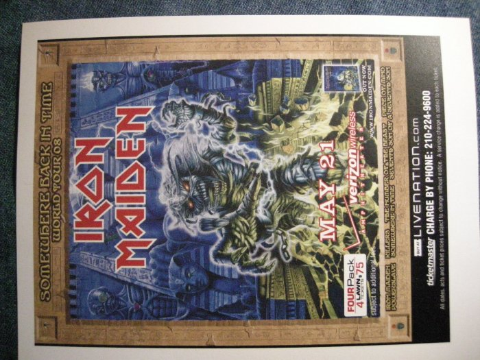 IRON MAIDEN CONCERT FLYER Somewhere Back in Time 2008 texas SALE