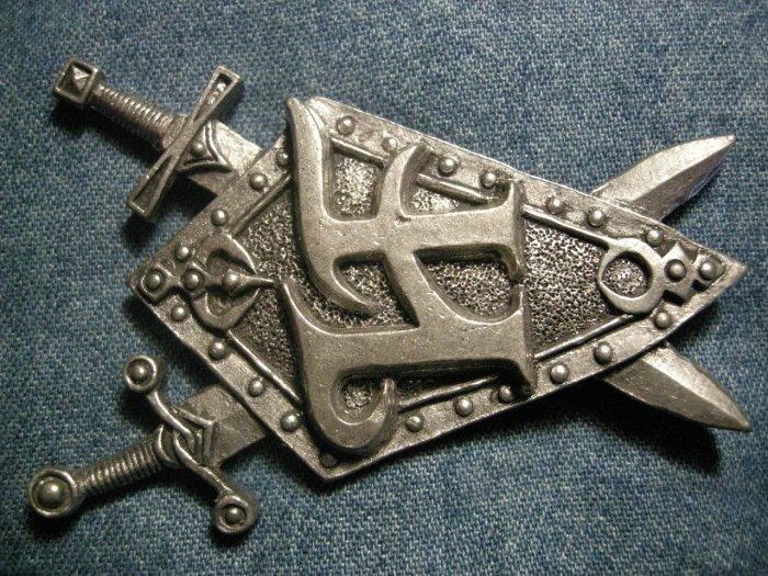 HAMMERFALL METAL PIN swords HF logo hammer fall badge IMPORT