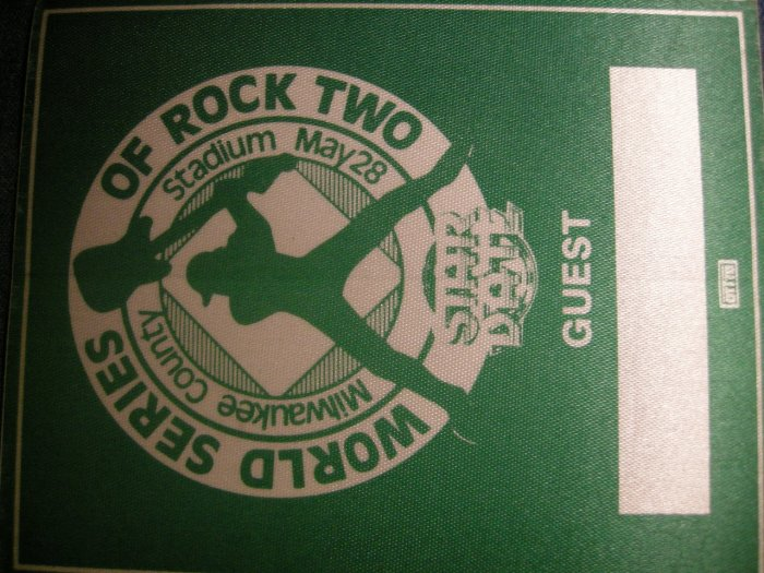 WORLD SERIES OF ROCK 2 BACKSTAGE PASS Milwaukee guest bsp VINTAGE SALE