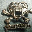 GREAT WHITE METAL PIN skull crossbones logo badge VINTAGE