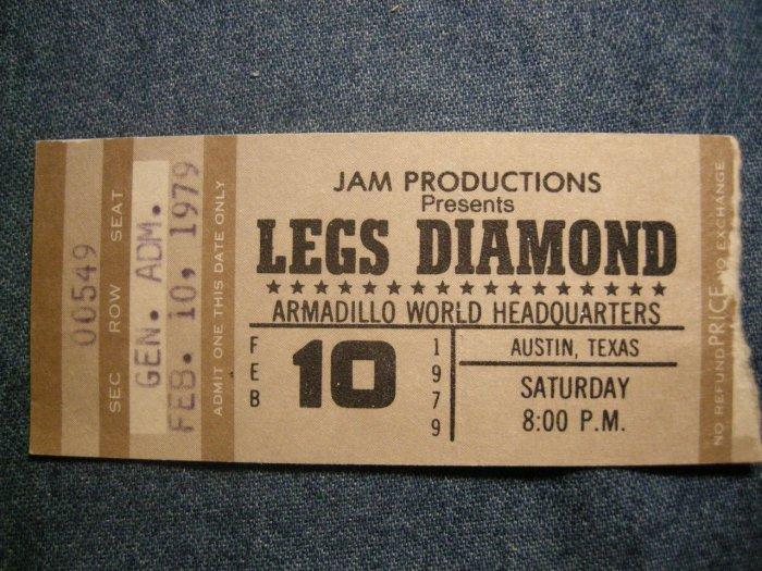LEGS DIAMOND TICKET STUB 2/10/79 austin texas VINTAGE