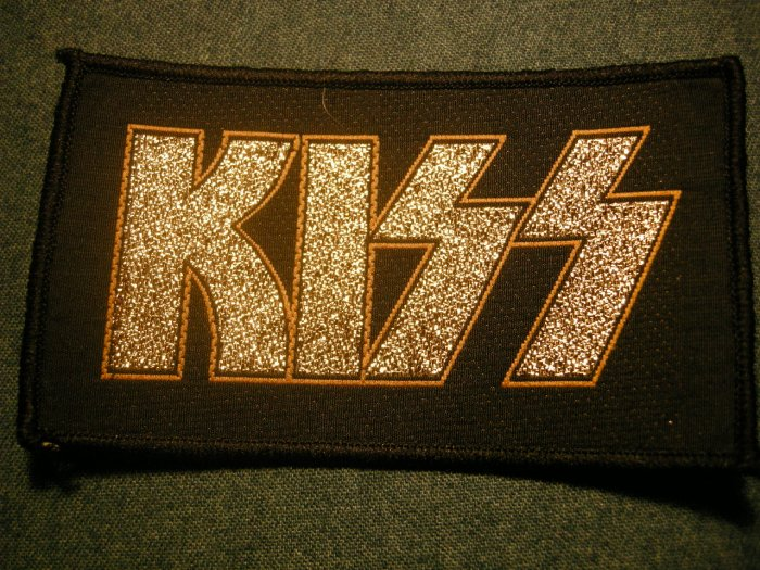 KISS sew-on PATCH gold glitter logo VINTAGE