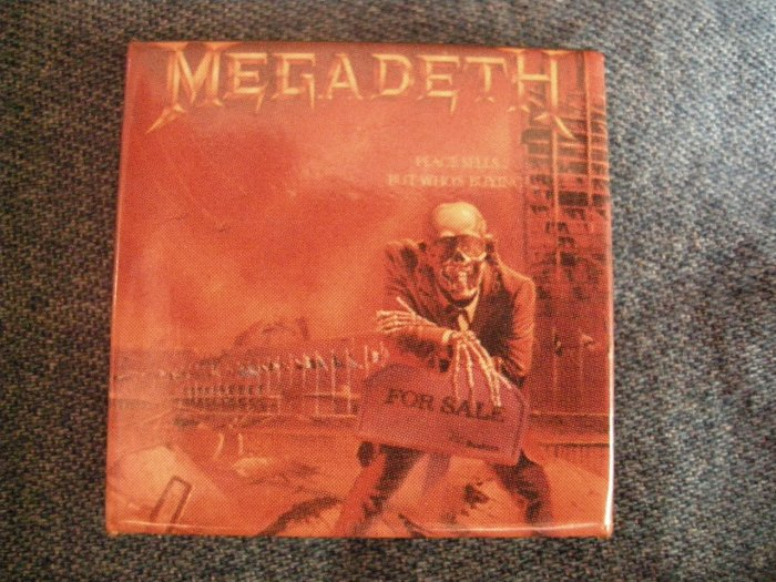 MEGADETH PINBACK BUTTON Peace Sells But Who's Buying square VINTAGE