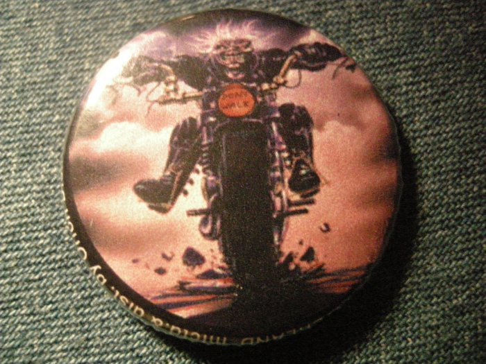IRON MAIDEN PINBACK BUTTON Beast on the Road motorcycle eddie