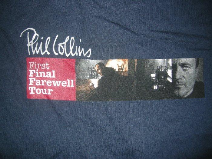 PHIL COLLINS TOUR SHIRT First Final Farewell genesis blue 2XL XXL NEW