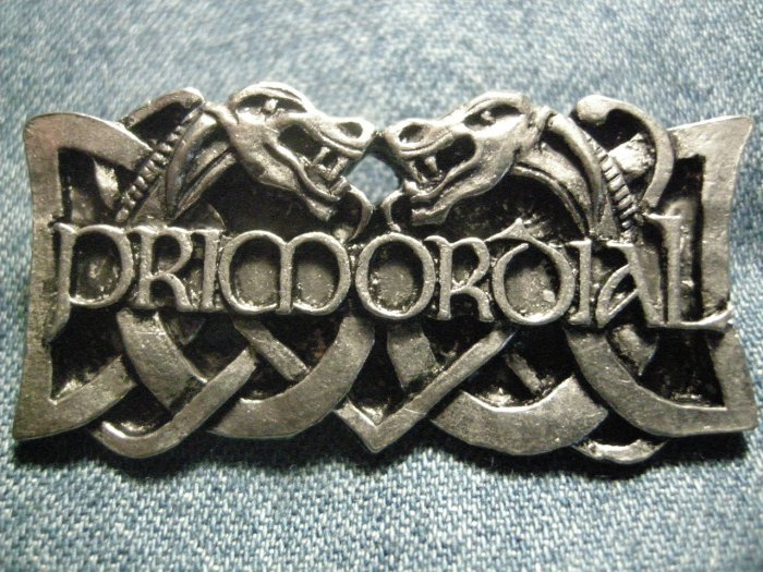 PRIMORDIAL METAL PIN celtic dragons logo badge IMPORT