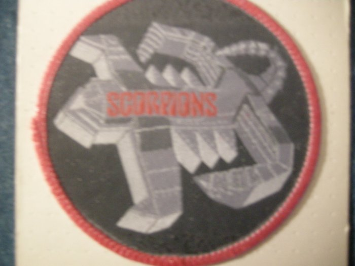 SCORPIONS sew-on PATCH spaceship logo round moc VINTAGE