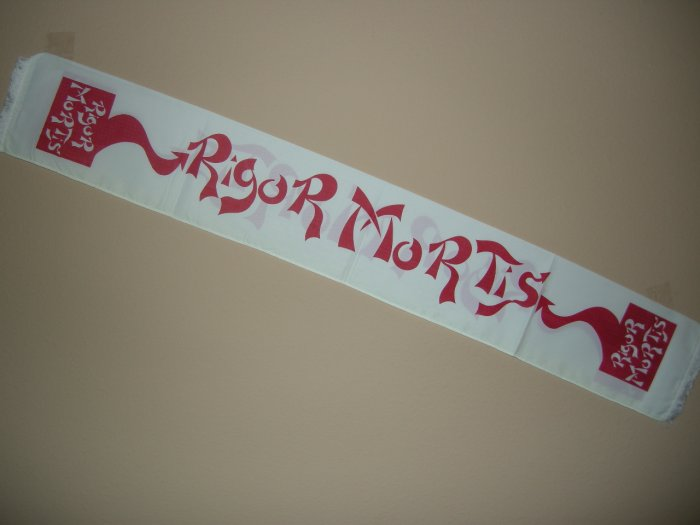 RIGOR MORTIS FABRIC SCARF banner import VINTAGE 80s