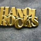 HANOI ROCKS PLASTIC PIN gold logo VINTAGE