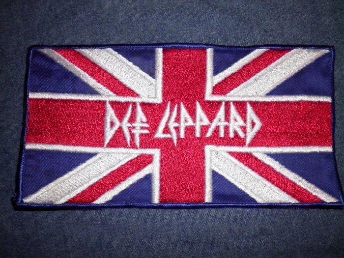 DEF LEPPARD iron-on PATCH Union Jack flag logo VINTAGE JUMBO