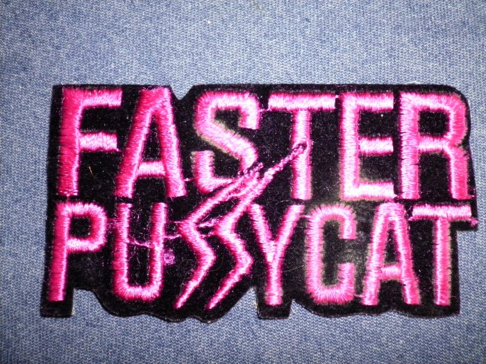 FASTER PUSSYCAT iron-on PATCH pink logo logo VINTAGE