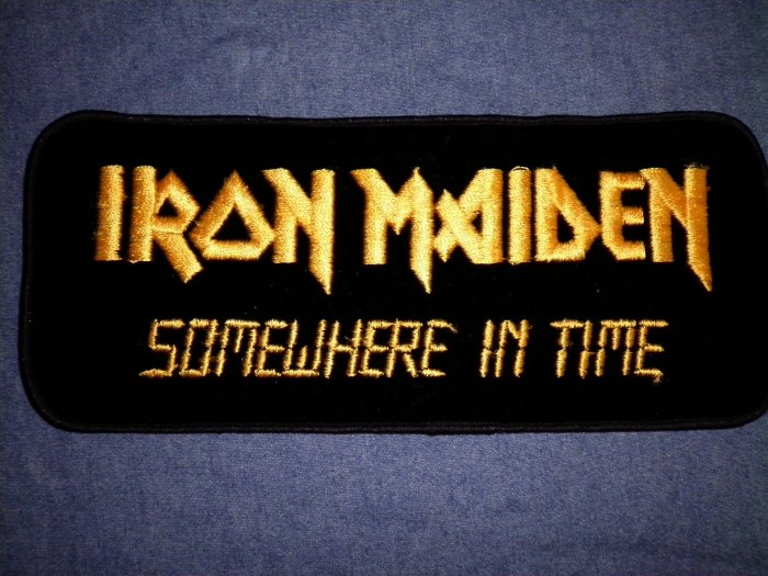 IRON MAIDEN iron-on PATCH Somewhere In Time logo VINTAGE JUMBO