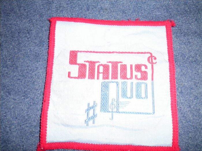 STATUS QUO sew-on PATCH square color logo VINTAGE