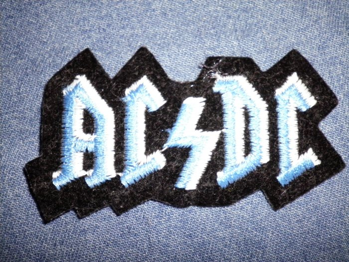 AC/DC iron-on PATCH blue/white logo acdc VINTAGE