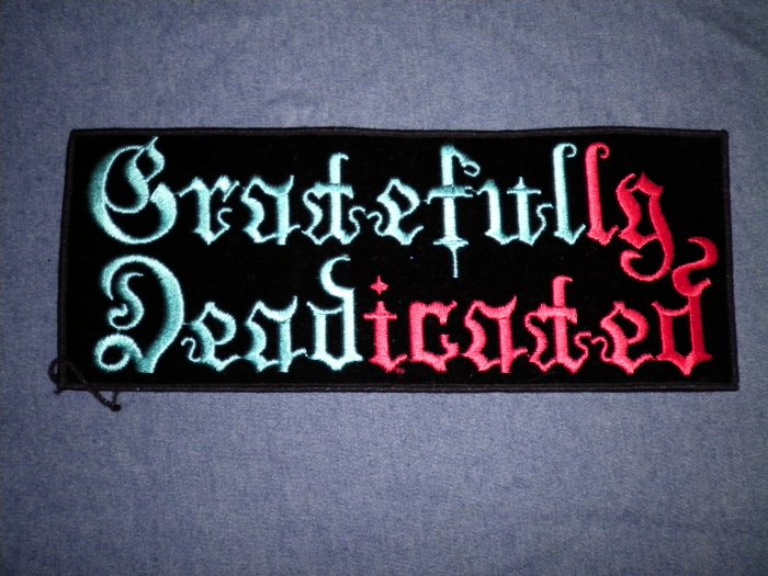 GRATEFUL DEAD iron-on PATCH Gratefully Dedicated logo VINTAGE JUMBO