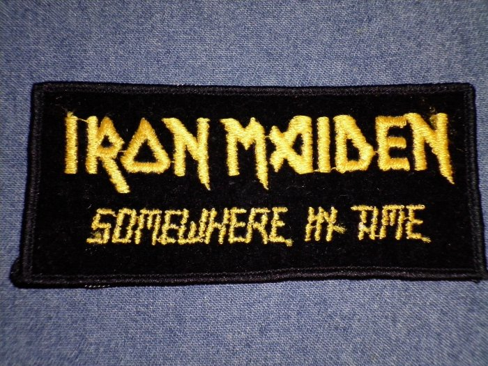 IRON MAIDEN iron-on PATCH Somewhere In Time logo VINTAGE