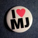 MICHAEL JACKSON PINBACK BUTTON I Love MJ licensed NEW