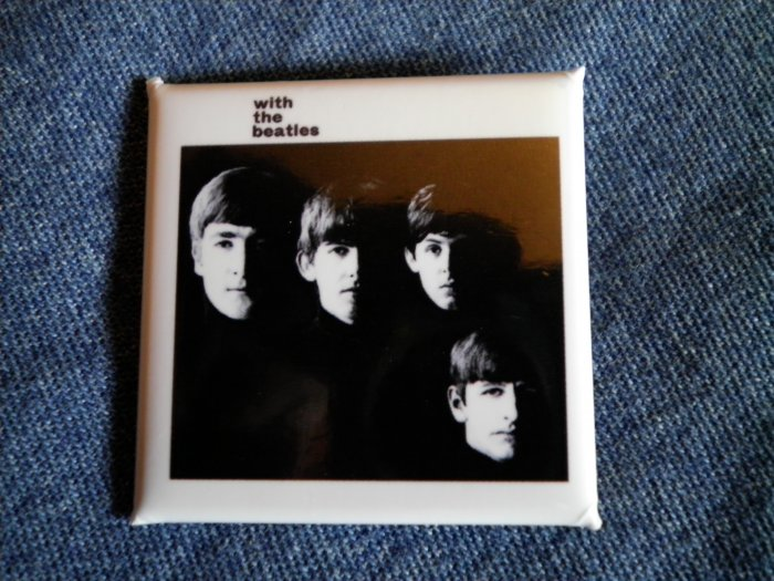 THE BEATLES PINBACK BUTTON With The Beatles album square NEW