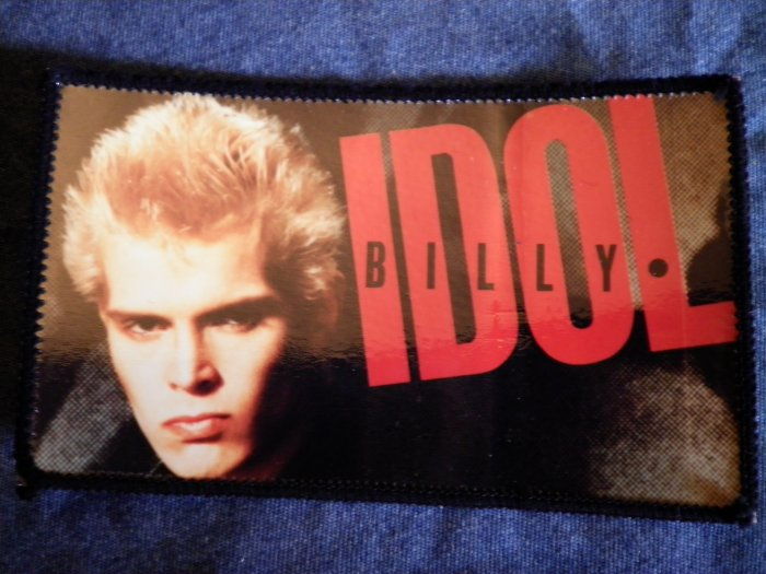 BILLY IDOL sew-on PATCH color photo VINTAGE BIG