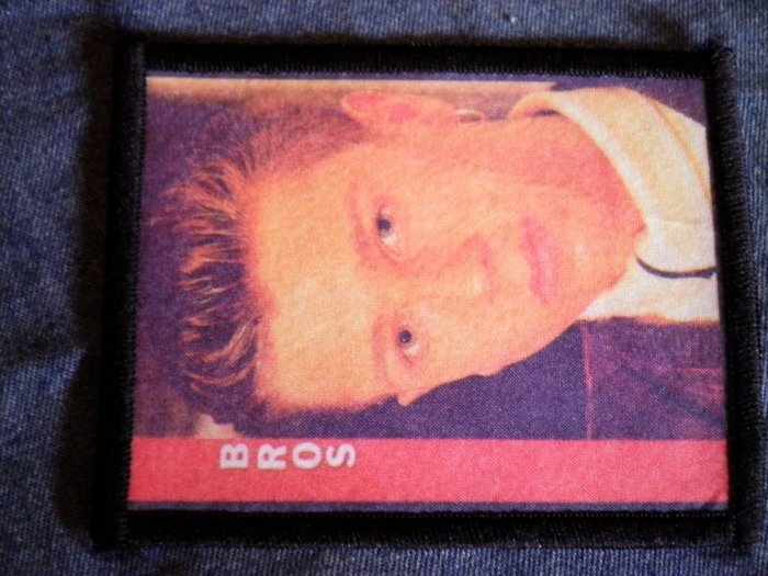 BROS sew-on PATCH band member photo red/white logo VINTAGE