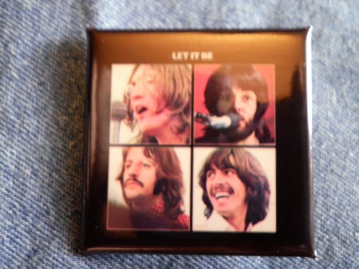 THE BEATLES PINBACK BUTTON Let It Be album square NEW