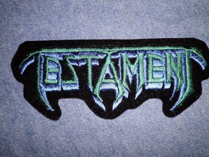 TESTAMENT iron-on PATCH blue/green logo VINTAGE