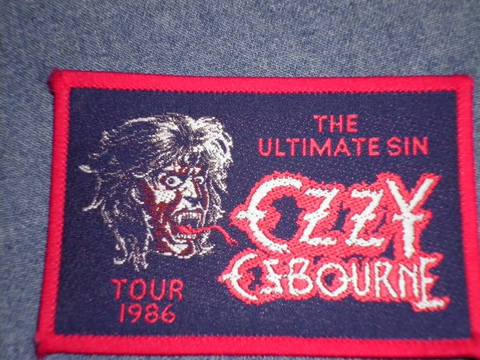 OZZY OSBOURNE sew-on PATCH Ultimate Sin Tour 1986 VINTAGE
