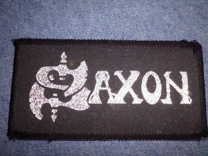 SAXON sew-on PATCH silver glitter logo VINTAGE