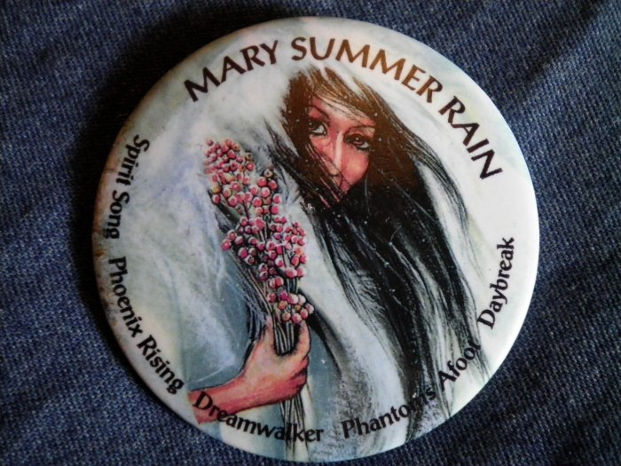 MARY SUMMER RAIN PINBACK BUTTON dreamwalker phoenix rising book author indian PROMO