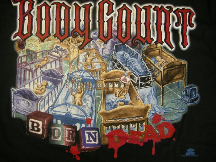 BODY COUNT SHIRT Born Dead ice t L VINTAGE NEW