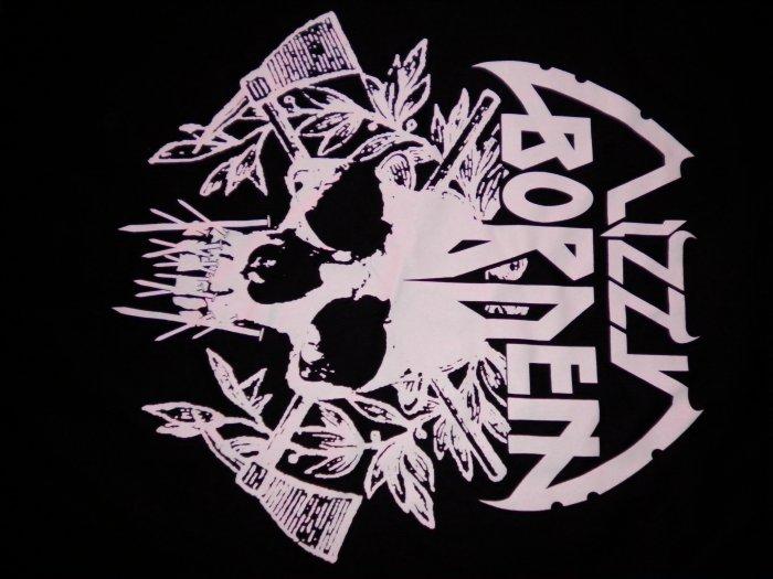 LIZZY BORDEN SHIRT skull axes logo L NEW