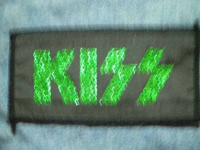 KISS sew-on PATCH green glitter logo VINTAGE 80s